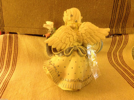 Angel Figurine with garland of colorful flowers and bird image 4