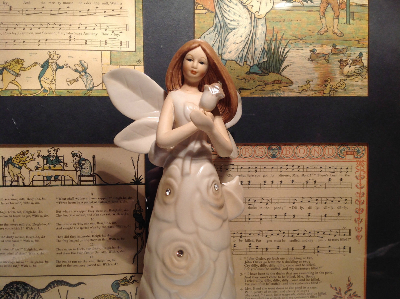 Angel Holding Rose Tall Rose Angel Porcelain Figurine Crystals on Dress