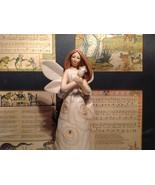 Angel Holding Rose Tall Rose Angel Porcelain Figurine Crystals on Dress - $44.54