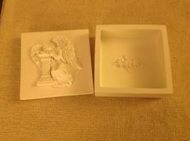 Angel trinket box  with angel resting head on pillar cream colored image 4