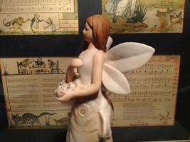 Angel Holding Basket Tall Rose Angel Porcelain Figurine Crystals on Dress image 3