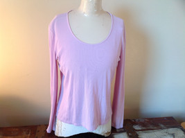 Ann Taylor Long Sleeve Light Pink Purplish Hue Scoop Cut Made in China Size L