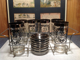12 Piece Silver Overlay Tall Water Glass Cups with Coasters 25th Anniversary image 2