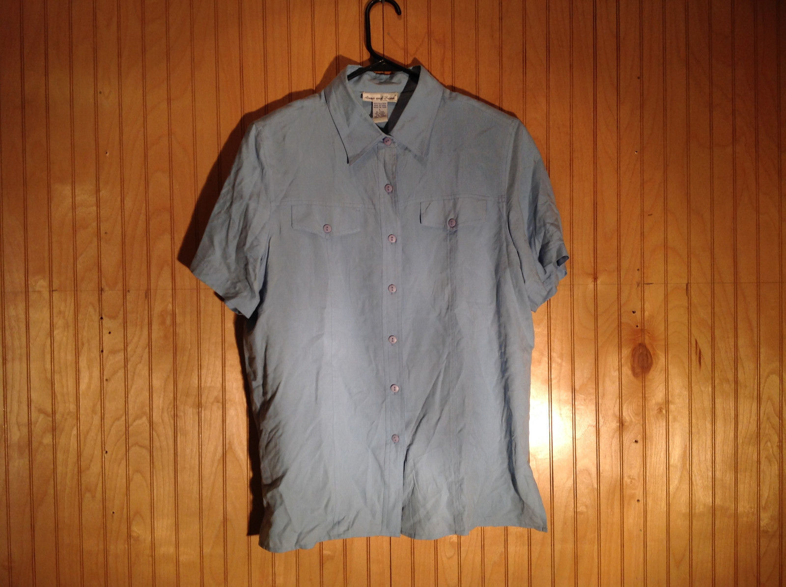 Ann and  Frank Size Large Button Down Collared Sky Blue Blouse Size Large