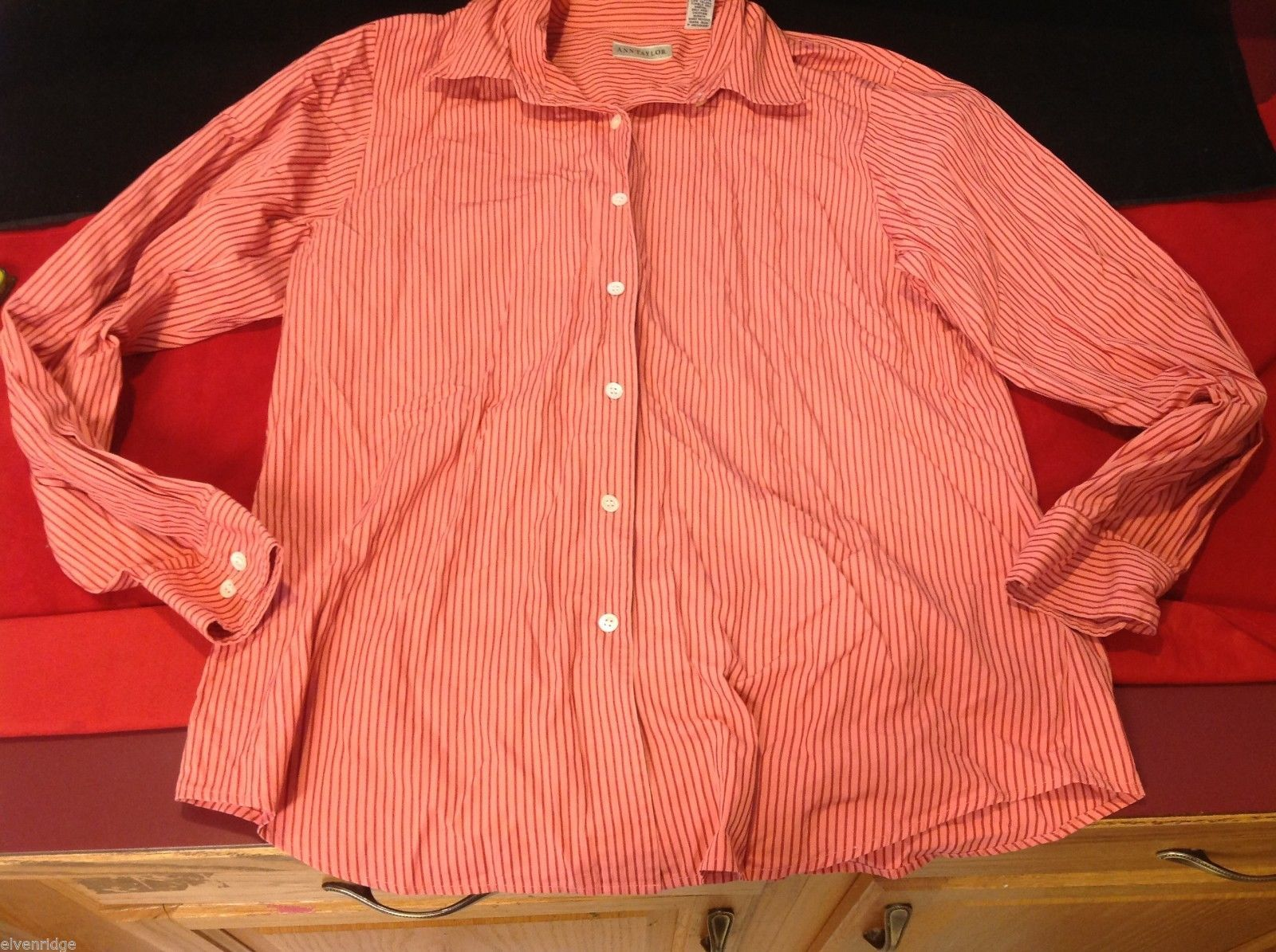 Ann Taylor red stripes blouse large 100% cotton