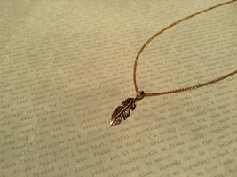 14K Gold Plated Feather Pendant Sterling Silver Base Necklace image 2
