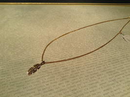 14K Gold Plated Feather Pendant Sterling Silver Base Necklace image 3