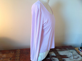 Ann Taylor Long Sleeve Light Pink Purplish Hue Scoop Cut Made in China Size L image 2