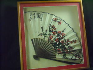 Antique Hand Painted Asian Fan Wood Frame