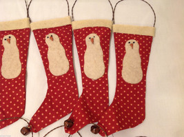 13 Piece Set of Red Fabric Vintage Look Holiday Stockings with Snowman image 2