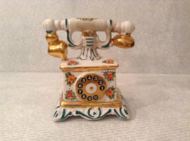Antique Hand Painted China Telephone Figurine White w flowers made in Italy