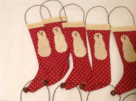 13 Piece Set of Red Fabric Vintage Look Holiday Stockings with Snowman image 3