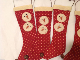 13 Piece Set of Red Fabric Vintage Look Holiday Stockings with Snowman image 4