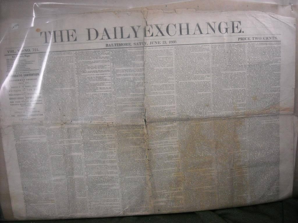 Antique 1860 Daily Exchange newspaper  Baltimore w Democratic Convention minutes