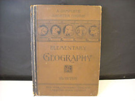 Antique 1875 Elementary Geography Textbook illustrated Swinton