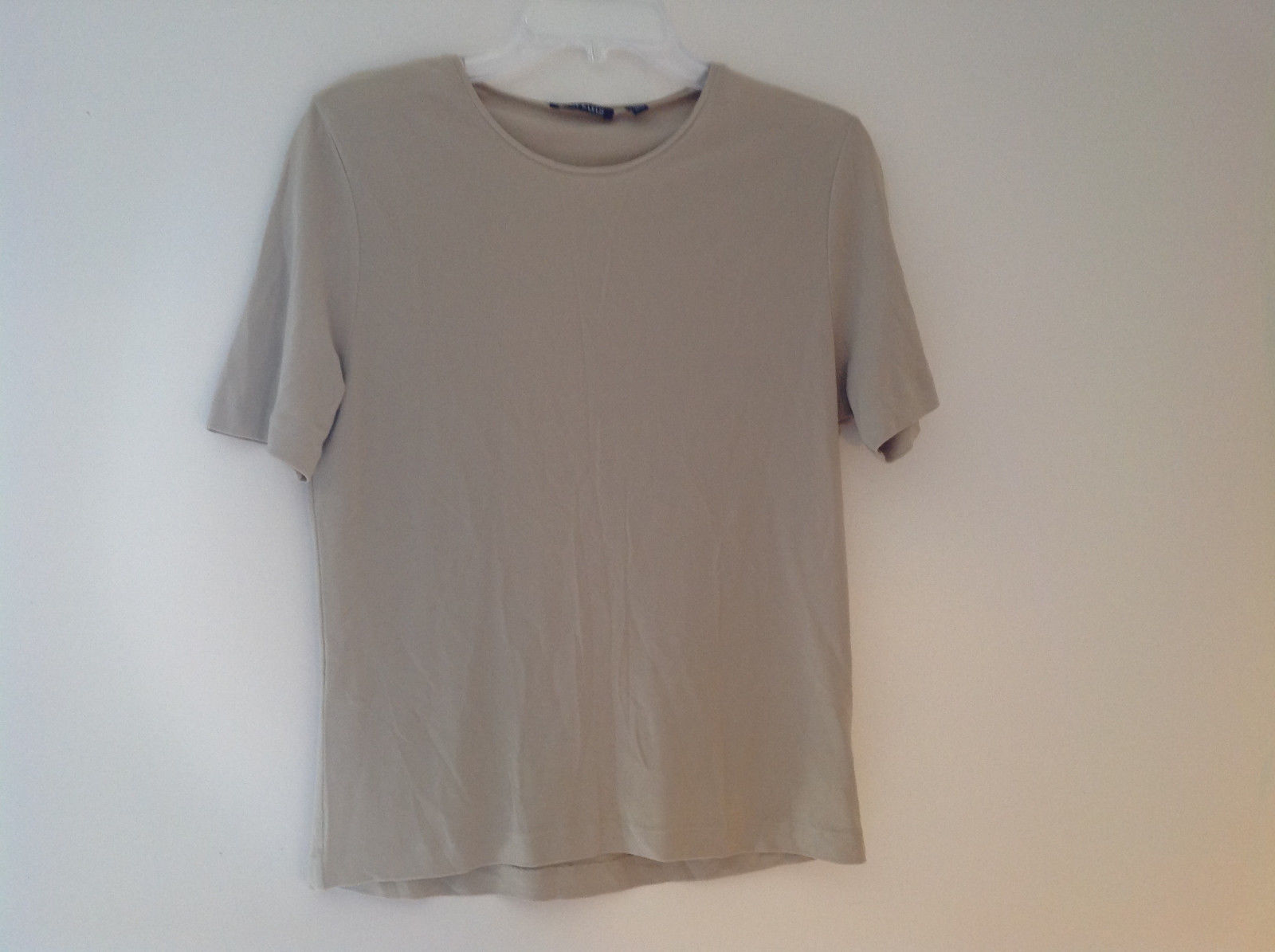 Anne Klein Tan Stretchy Short Sleeve Shirt A Little Sheer Size Medium