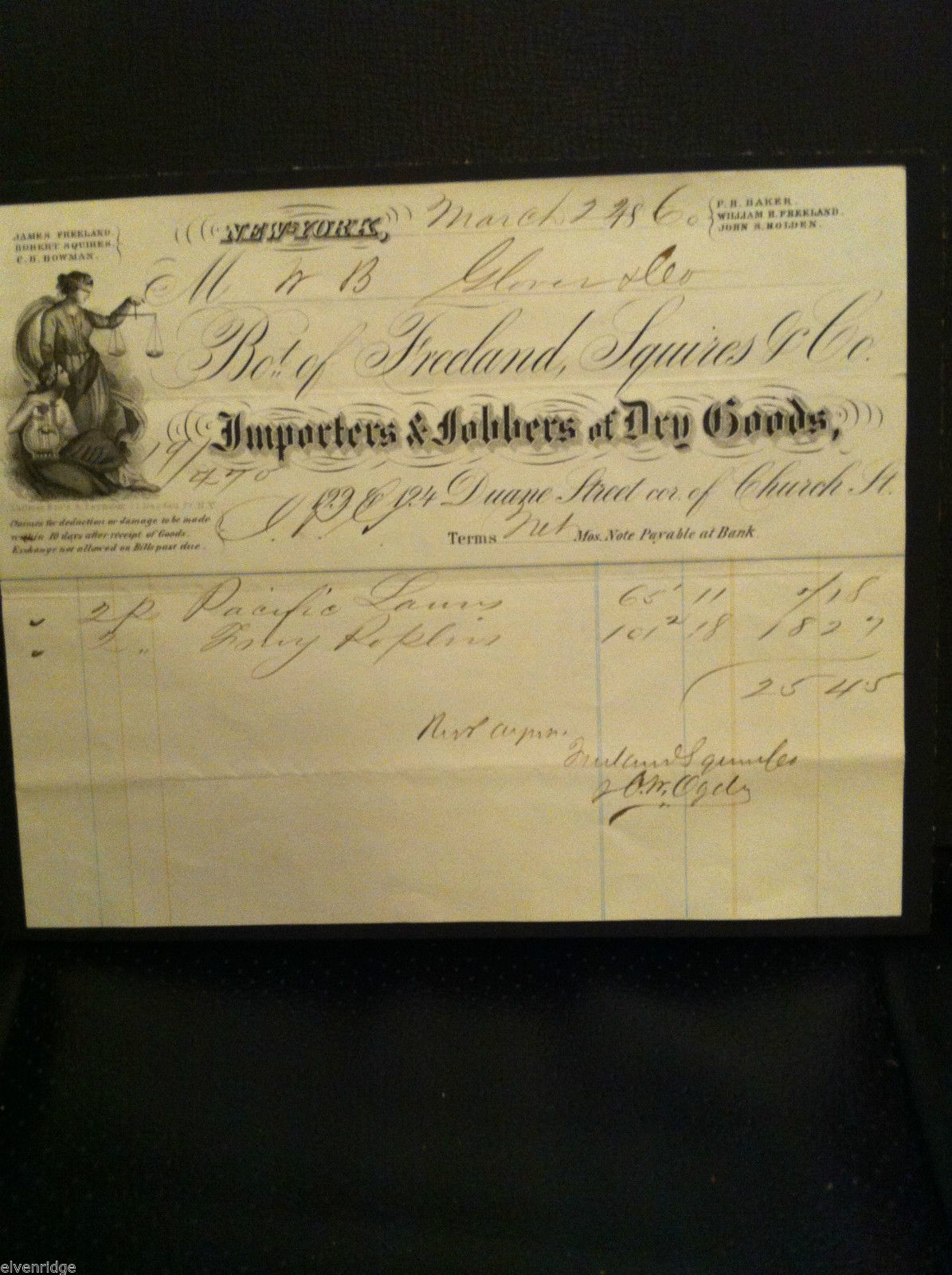 Antique 1860 receipt NYC Duane Street and Church Freeland Squires and Co