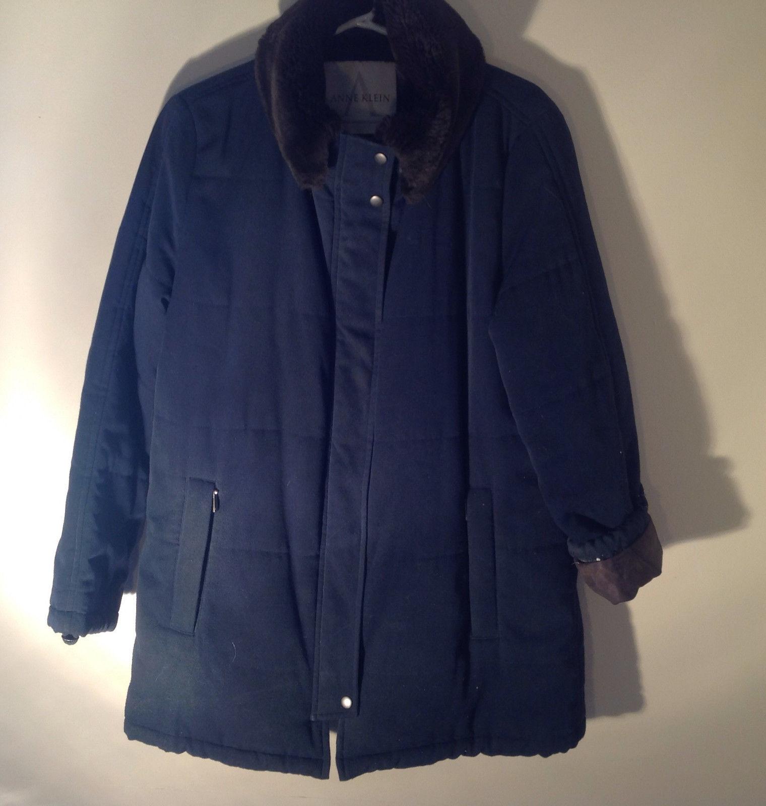 Anne Klein Double Layered Dark Green Brown Winter Coat Soft Collar Size XS