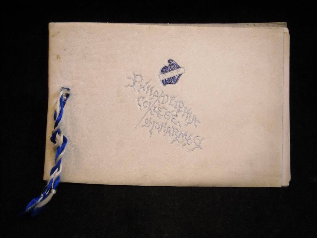 Antique 1892 Leather Bound Graduation Invitation Philadelphia College Pharmacy