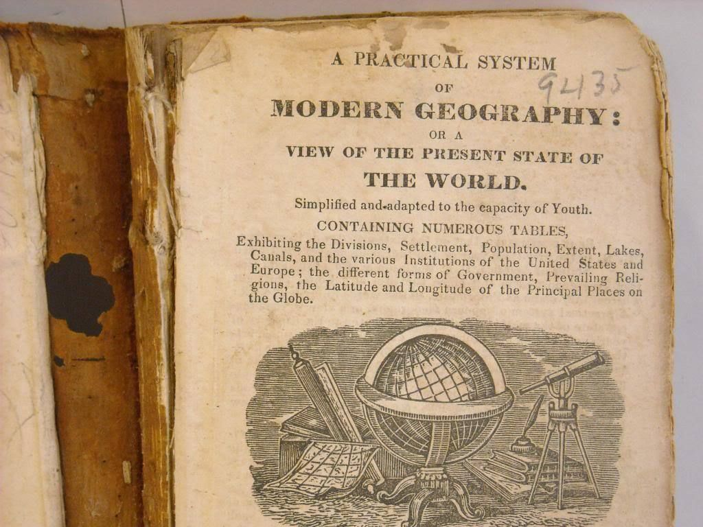 Antique 1831 textbook Modern Geography J Olney 8th ed.