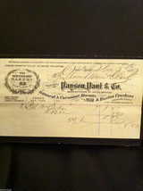 Antique 1877  receipt Payson Paul and Co 33 Cortland St NYC New England Bakery
