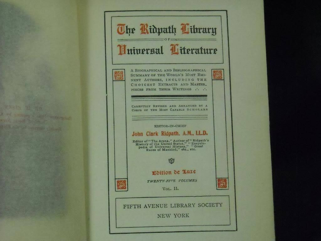 Antique 1899 Ridpath Library Universal Literature Vol 2