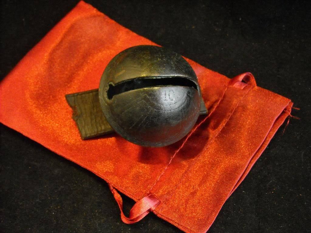 Antique Brass #10 Sleigh Bell design On leather Strap in Red Stain Gift Bag