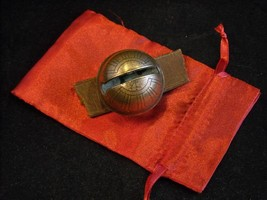 Antique Brass Non-believer No. 4 sleigh bell in satin gift bag