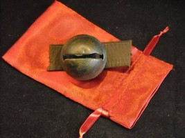 Antique Brass No. 7 Sleigh Bell on Leather Strap in Red Stain Bag