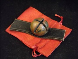 Antique Brass Small Sleigh Bell on Leather Strap In Gift Bag Pat. May '78