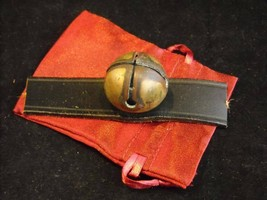 Antique Brass Small Sleigh Bell Unpolished Leather Strap Gift Bag Pat. May '78 - $74.24