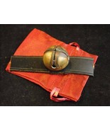 Antique Brass Small Sleigh Bell Unpolished Leather Strap Gift Bag Pat. M... - $74.24