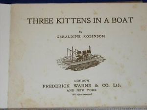 Antique Childrens Book 3 Kittens in a boat