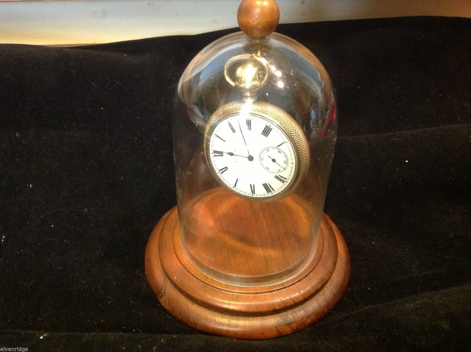Antique Elgin Pocket watch gold case engraved from estate in display glass globe