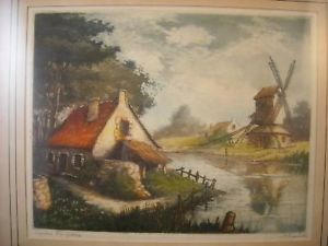 Antique Framed Print Paris Mill at Josne by Charlot