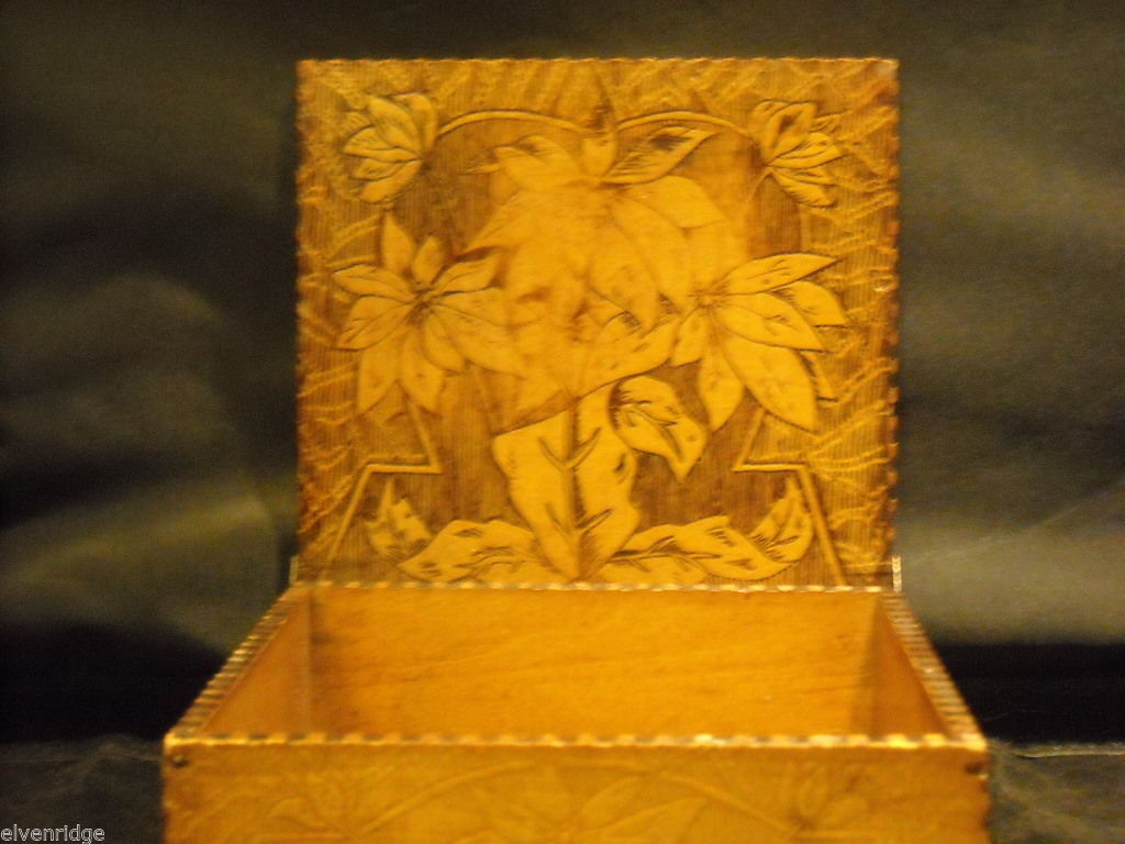 Antique Flemish Art Wood burnt Jewelry Box with Sage green Lining