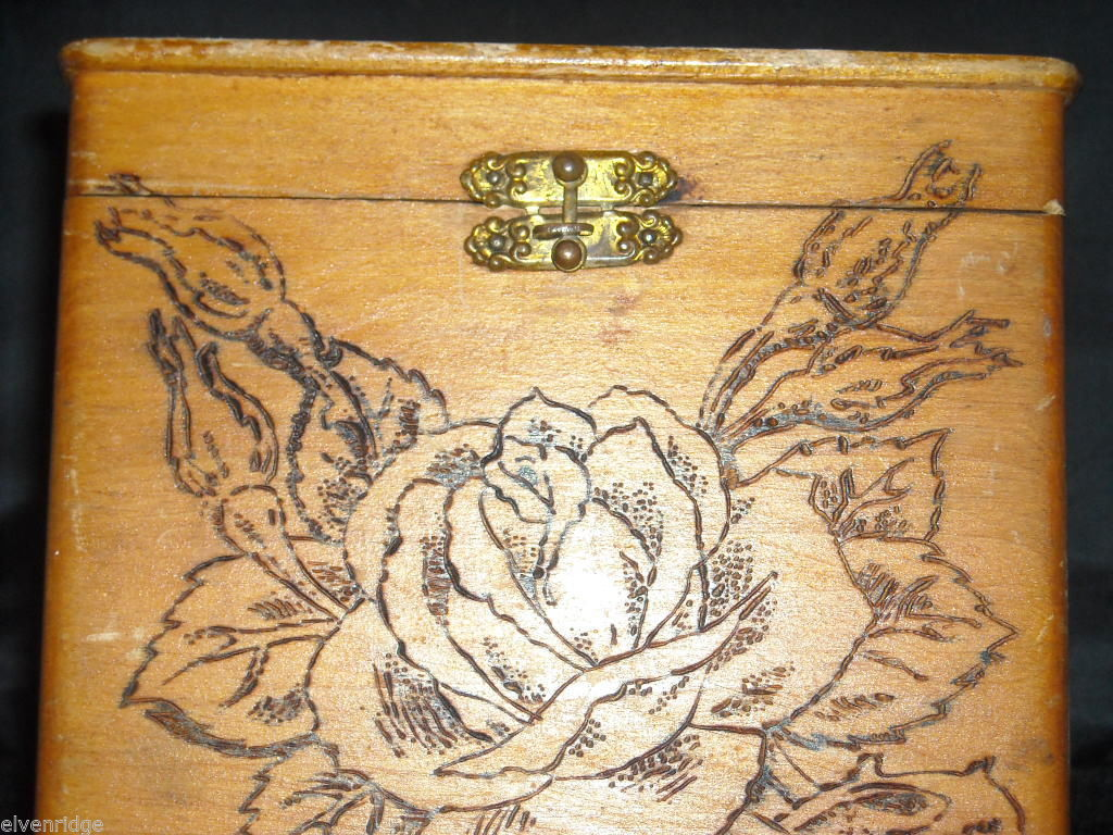 Antique Flemish Art Wood burnt Jewelry Box with Roses