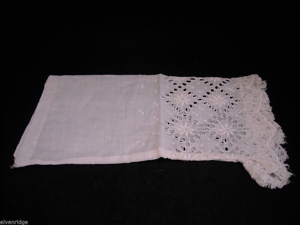 Antique Floral Lace Shirt Sleeve White 1900s Vintage Fabric Craft Salvage Scrap