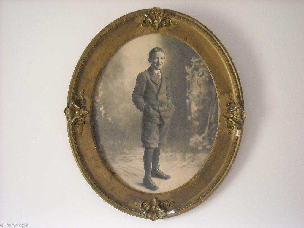 Antique Gold Painted Frame with Boy's Portrait