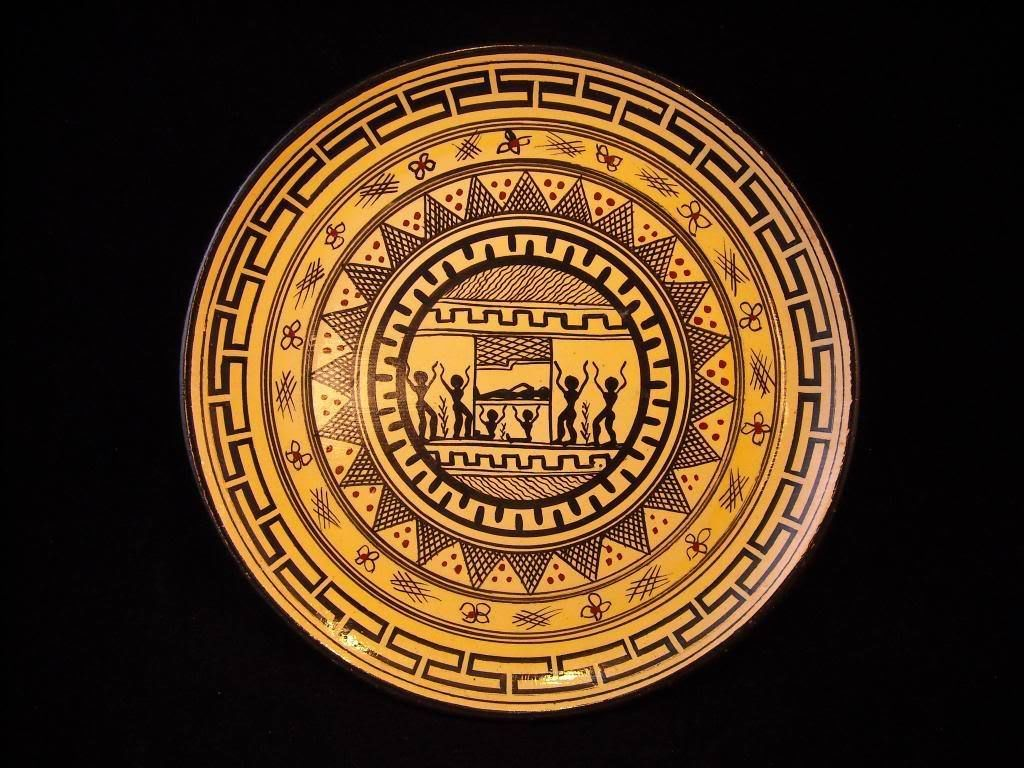 Antique  Plate Yellow house traditional pattern  from Greece