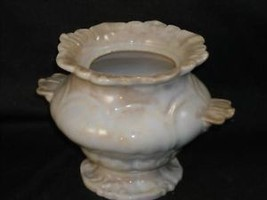 Antique Porcelain White Urn w Detailed Lip and Foot