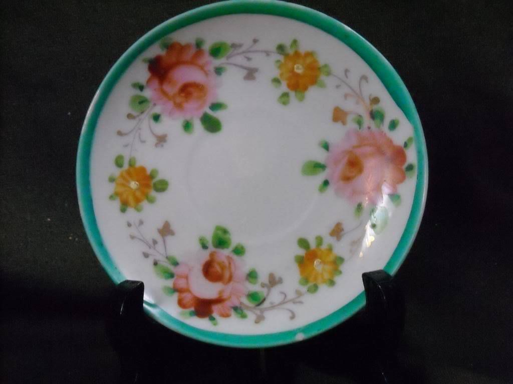 Antique Porcelain Teal Rim Floral Tea Saucer hand painted