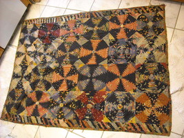 Antique Quilt browns golds possibly silk piecework