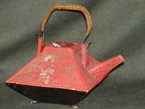 Antique Red Ornate Ceramic Asian Teapot Set deaccessionded museum piece