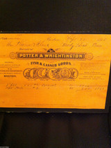 Antique Receipt 1885 Potter Wrightington Fish Canned Goods Sandy Hook Boston MA