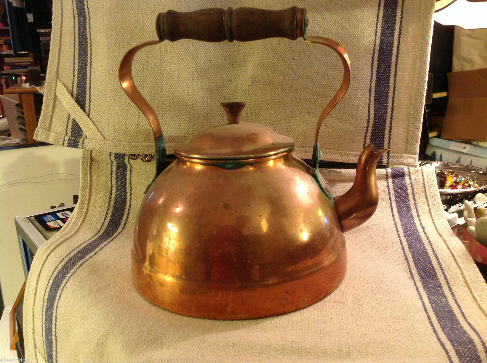 Antique Swedish Copper Tea Kettle or Tea Pot 2 Liter with wooden handle