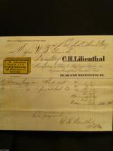 Antique Receipt 1859 Lilienthal Cavendish Tobacco 219 Washington St. NYC