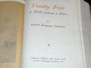 Antique Vanity Fair leather bound  William Thackery V1