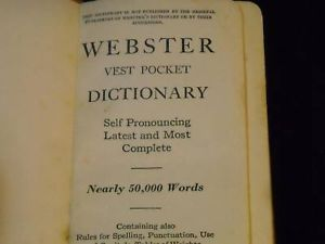 Antique Webster Dictionary Vest Pocket Deluxe Edition