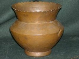 Antique brass vase pot with scalloped rim hand made primitive - $74.24